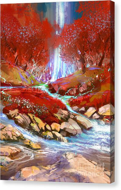 Canvas Print featuring the painting Red Forest by Tithi Luadthong