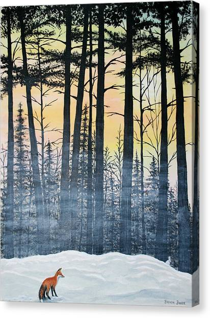 Red Fox Morning Hunt Canvas Print