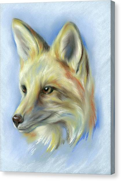 Canvas Print featuring the pastel Red Fox Portrait by MM Anderson
