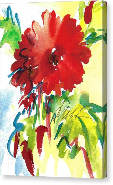 Gerberas Red, White, And Blue Canvas Print