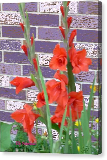 Red Gladiolas Canvas Print