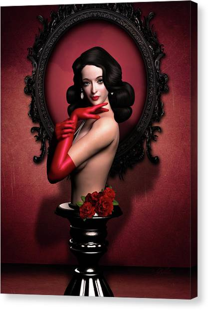 Erotic Framed Canvas Print - Red Gloves Fetish by Britta Glodde