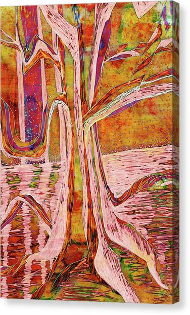 Red-gold Autumn Glow River Tree Canvas Print