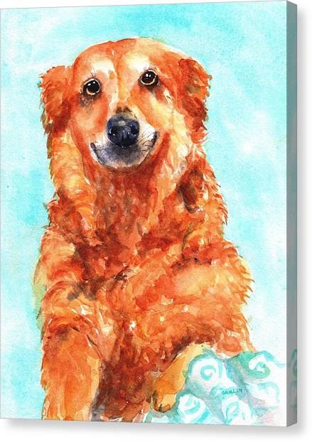 Watercolor Pet Portraits Canvas Print - Red Golden Retriever Smile by Carlin Blahnik CarlinArtWatercolor