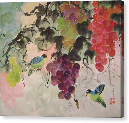Red Grapes And Blue Birds Canvas Print by Lian Zhen