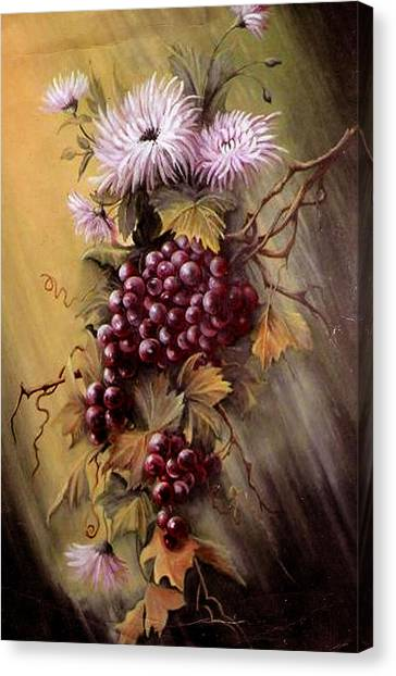Red Grapes And Flowers Canvas Print