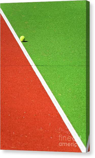 Red Green White Line And Tennis Ball Canvas Print