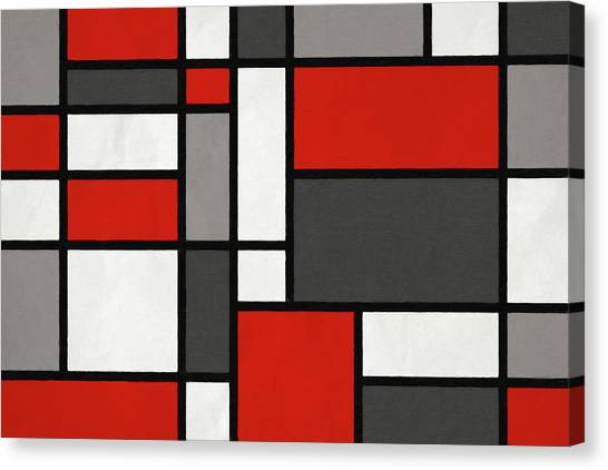 Grunge Canvas Print - Red Grey Black Mondrian Inspired by Michael Tompsett