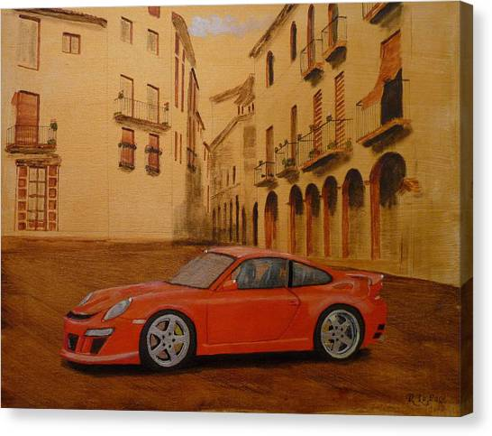 Red Gt3 Porsche Canvas Print
