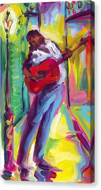 Red Guitar Canvas Print by Saundra Bolen Samuel