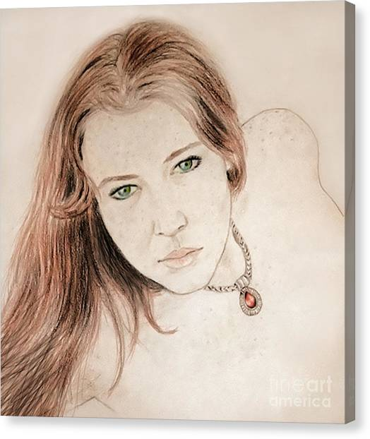 Lucy Liu Canvas Print - Red Hair And Freckled Beauty by Jim Fitzpatrick