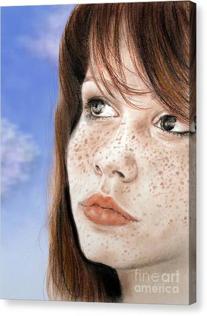Red Hair And Freckled Beauty Version II Canvas Print