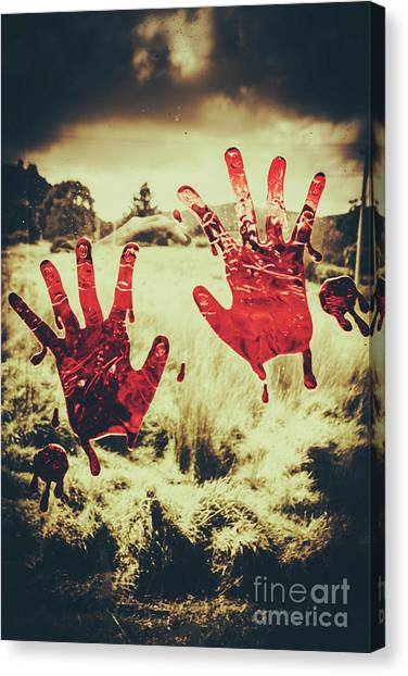 Blood Canvas Print - Red Handprints On Glass Of Windows by Jorgo Photography - Wall Art Gallery