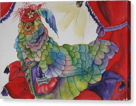 Red Hat Chick With Purse Canvas Print by Gina Hall