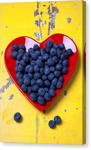 Heart Canvas Print - Red Heart Plate With Blueberries by Garry Gay