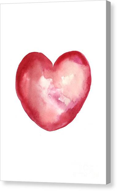 Watercolor Canvas Print - Red Heart Valentine's Day Gift by Joanna Szmerdt