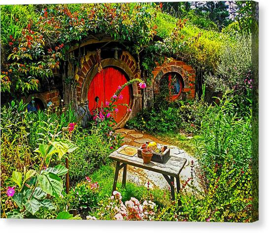 Red Hobbit Door Canvas Print