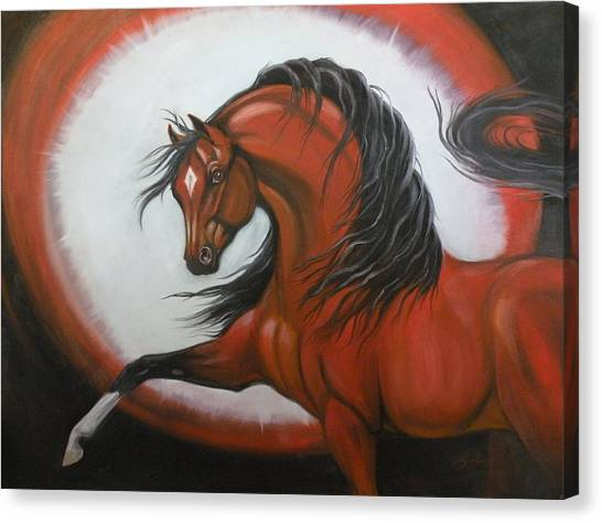 Red Horse Fantasy Canvas Print by Liz Rose