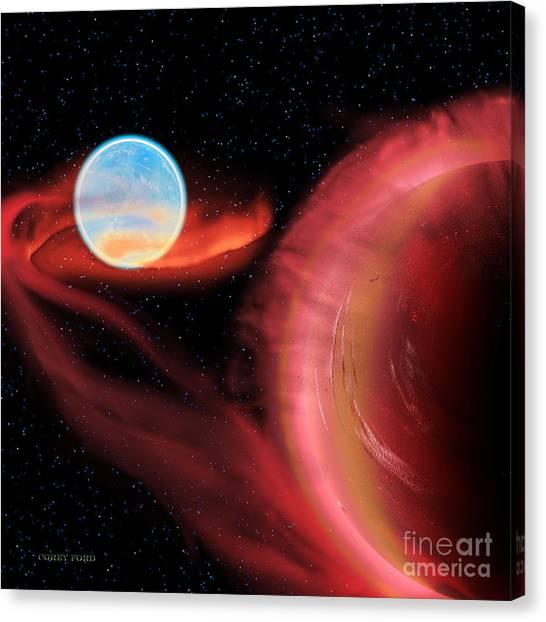 Stellar Canvas Print - Red Hot Binary Star by Corey Ford