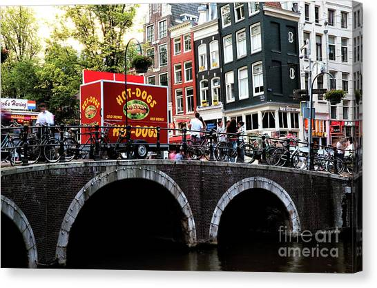 Red Hot Dog Truck Canvas Print by John Rizzuto