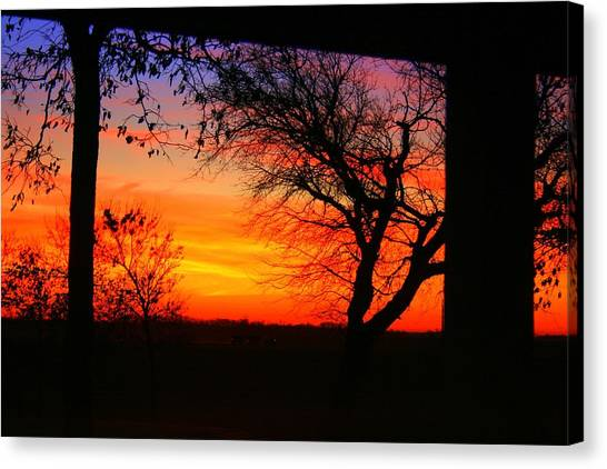 Red Hot Sunset Canvas Print by Julie Lueders