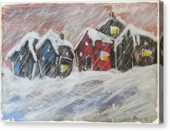 Red House In The Snow Canvas Print