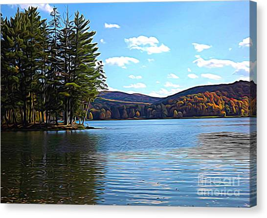 Canvas Print featuring the photograph Red House Lake Allegany State Park In Autumn Expressionistic Effect by Rose Santuci-Sofranko