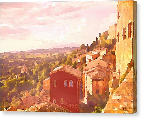 Red House On A Hill Canvas Print