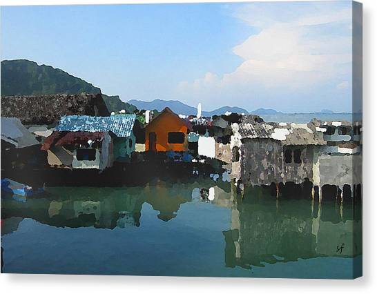 Red House On The Water Canvas Print