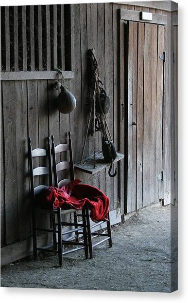 Red In The Barn Canvas Print by Angie Bechanan
