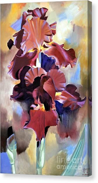 Red Irises Canvas Print by Michael Stoyanov