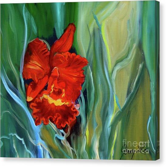 Red Jungle Orchid Canvas Print