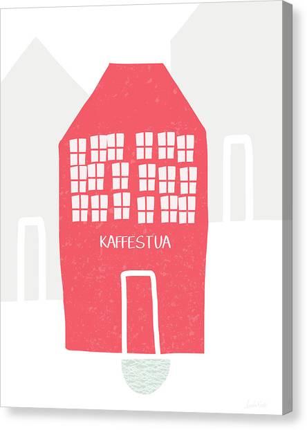 Kitchen Window Canvas Print - Red Kaffestua- Art By Linda Woods by Linda Woods