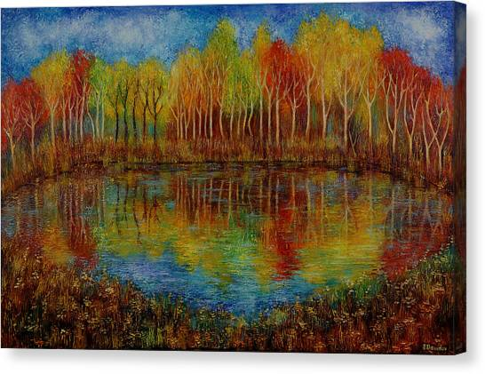 Red Lake. Canvas Print by Evgenia Davidov