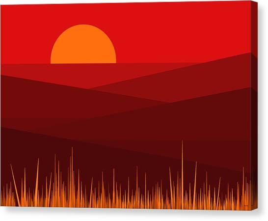 Mountain View Canvas Print - Red Landscape by Val Arie