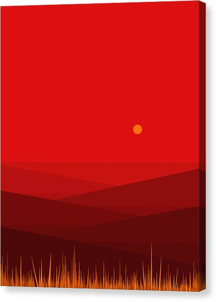 Mountain View Canvas Print - Red Landscape - Vertical by Val Arie