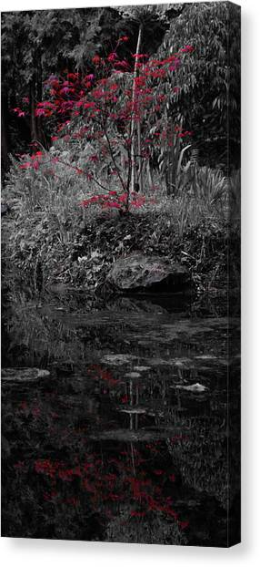 Canvas Print featuring the photograph Red Leaves Reflected by Scott Lyons
