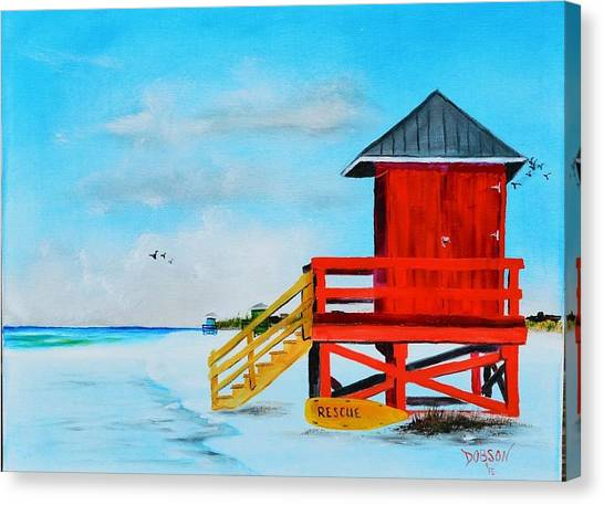 Red Life Guard Shack On The Key Canvas Print