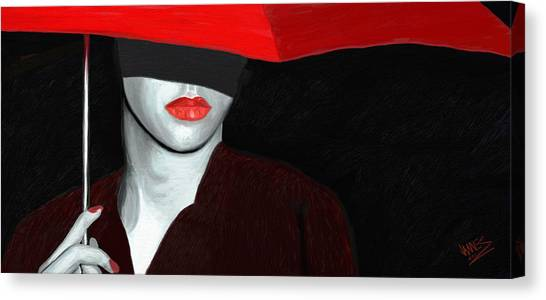 Red Lips And Umbrella Canvas Print by James Shepherd