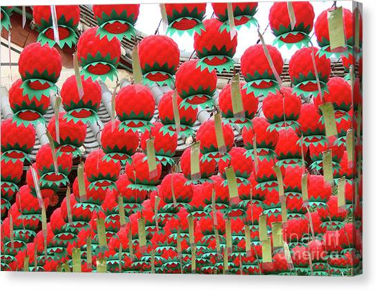 Korean Canvas Print - Red Lotus Lanterns In Seoul by Delphimages Photo Creations