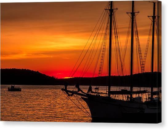 Red Maine Sunrise Canvas Print