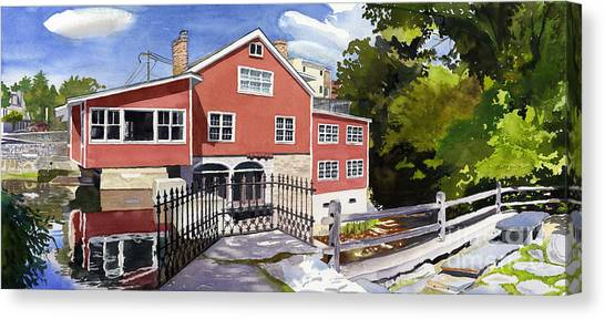 Red Mill Manchester Vt Canvas Print by Hollis Machala