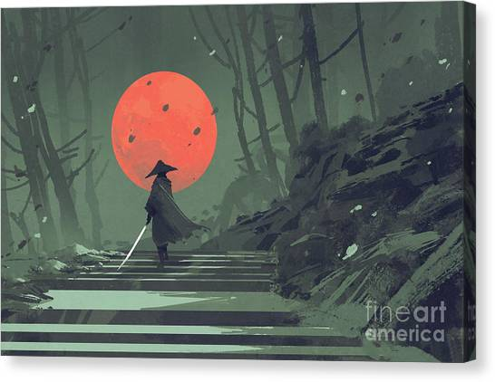 Canvas Print featuring the painting Red Moon Night by Tithi Luadthong