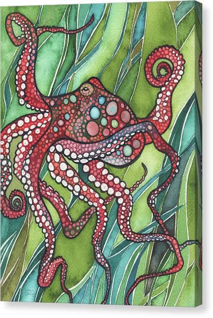 Beach Artwork Canvas Print - Red Octo by Tamara Phillips