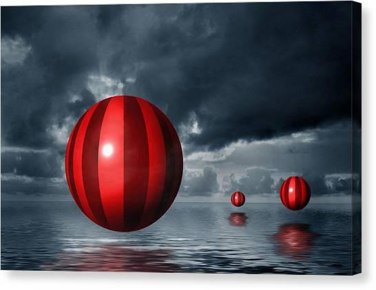 Red Orbs Canvas Print by Judi Quelland
