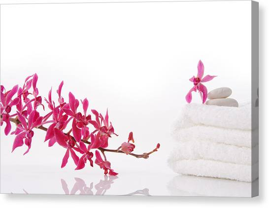 Health Care Canvas Print - Red Orchid With Towel by Atiketta Sangasaeng
