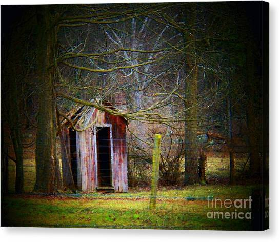 Red Outhouse Canvas Print