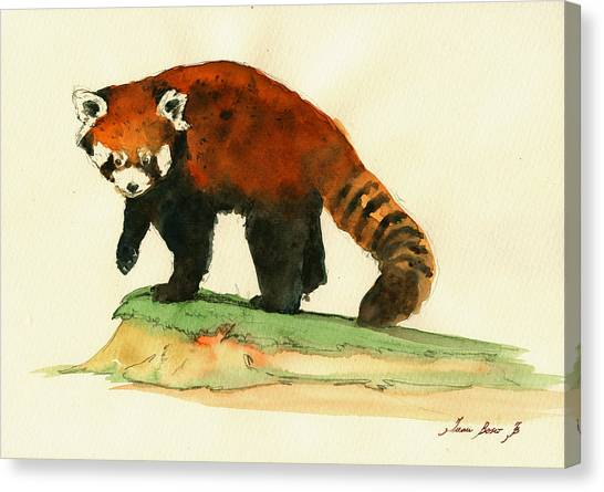 Panda Canvas Print - Red Panda Walk by Juan  Bosco