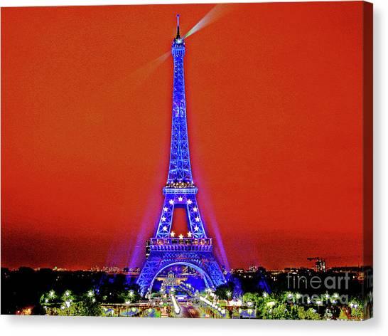 Red Paris Sunset  Eiffel Tower Canvas Print