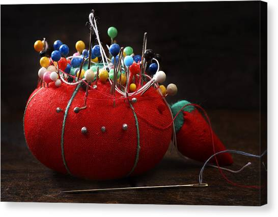 Pin Cushion Canvas Print - Red Pin Cushion by Donald Erickson
